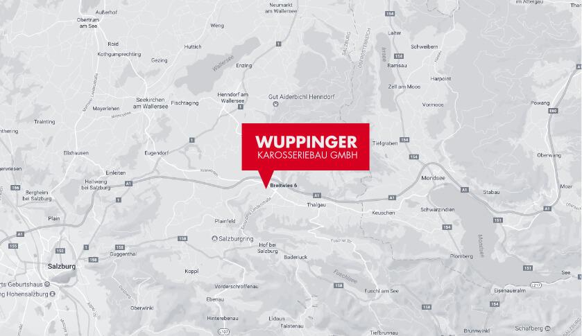 Karte mit Standort Wuppinger Karosseriebau